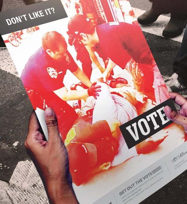 Walking With Poster, Get Out The Vote.
